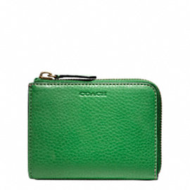 BLEECKER PEBBLED LEATHER HALF ZIP WALLET