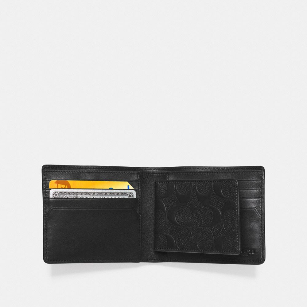 COMPACT ID WALLET IN SIGNATURE CROSSGRAIN LEATHER - Alternate View