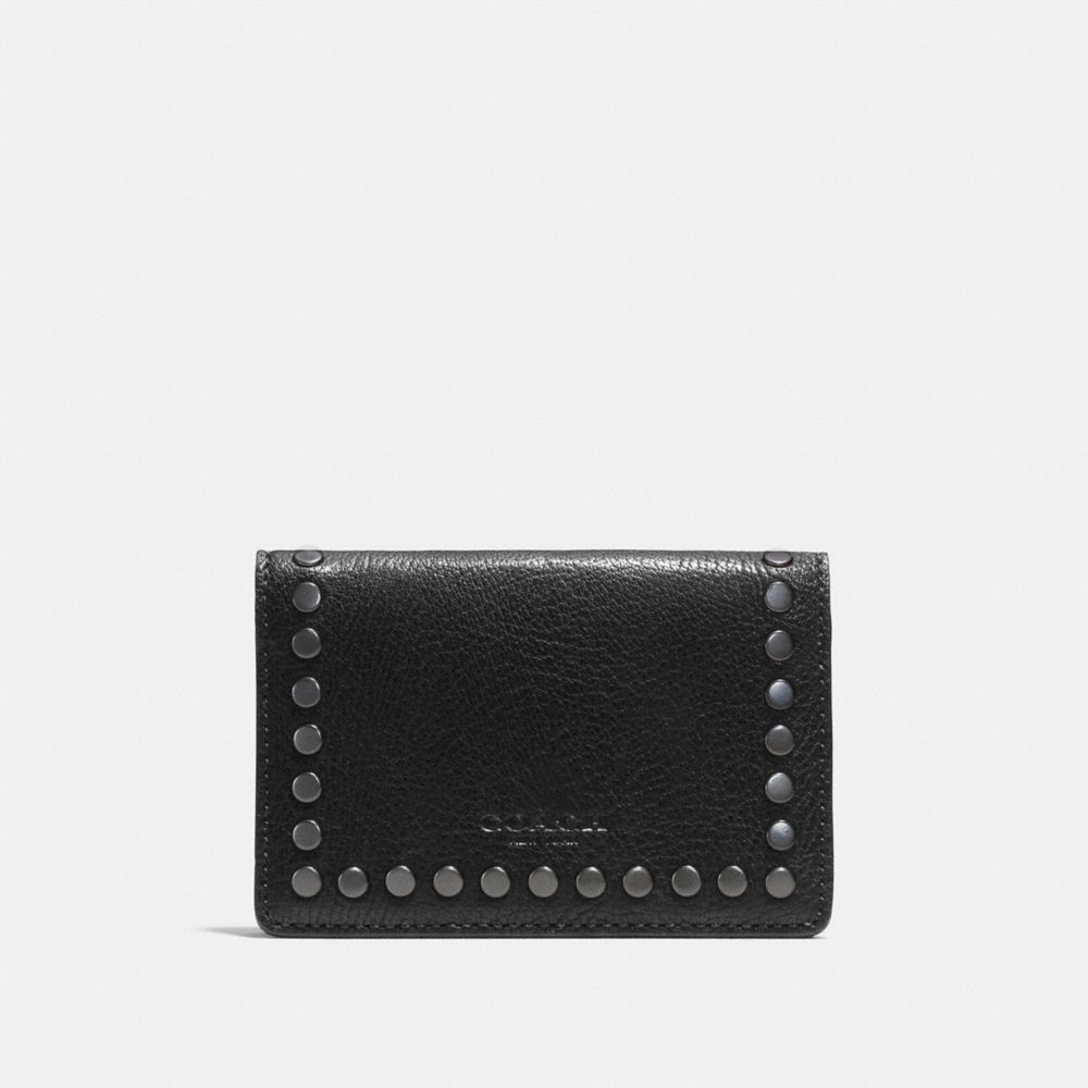 STUDDED CARD WALLET IN LEATHER