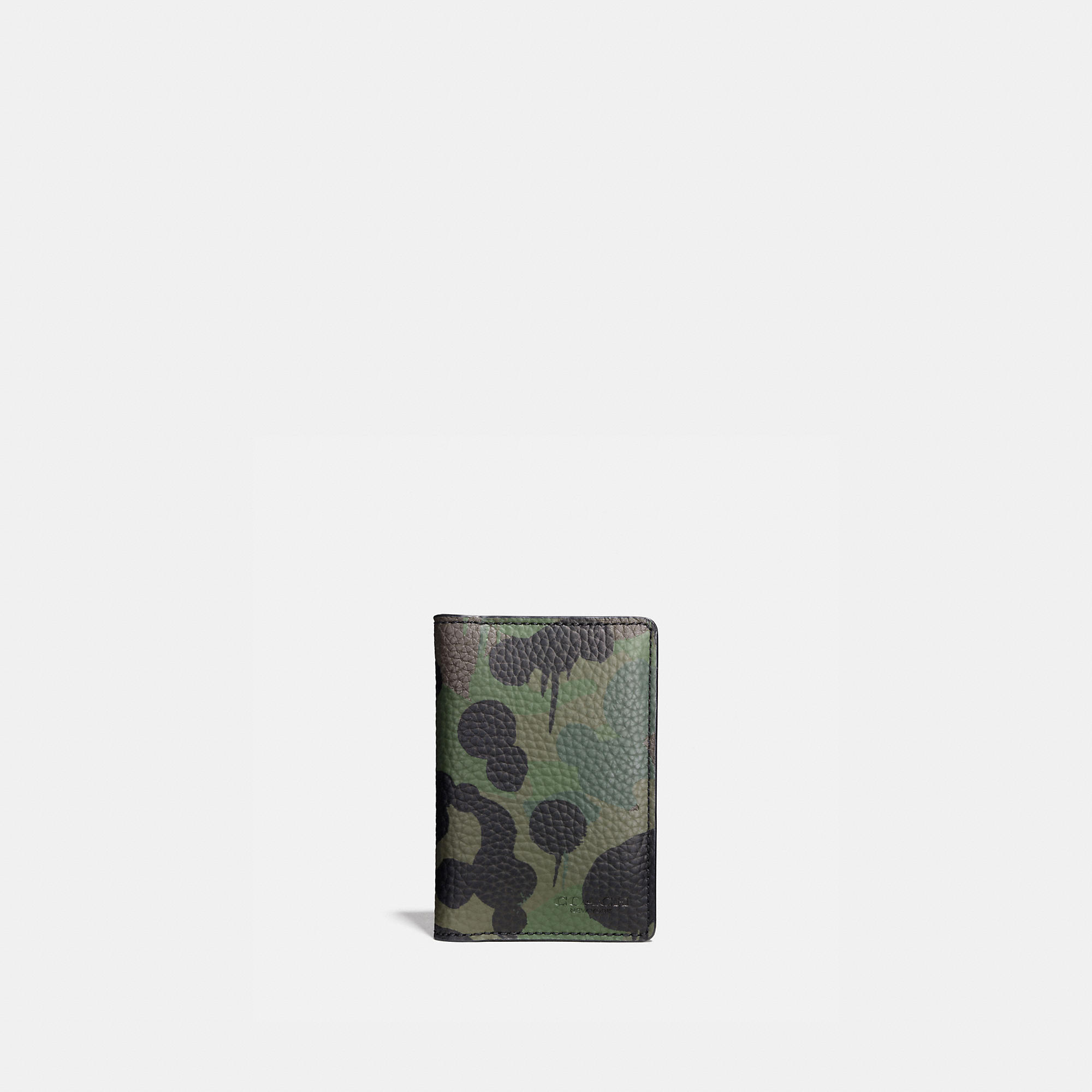 Coach Card Wallet In Wild Beast Camo Print Pebble Leather