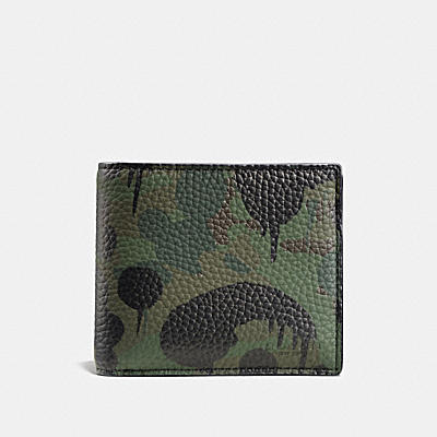 COMPACT ID WALLET IN WILD BEAST CAMO PRINT LEATHER