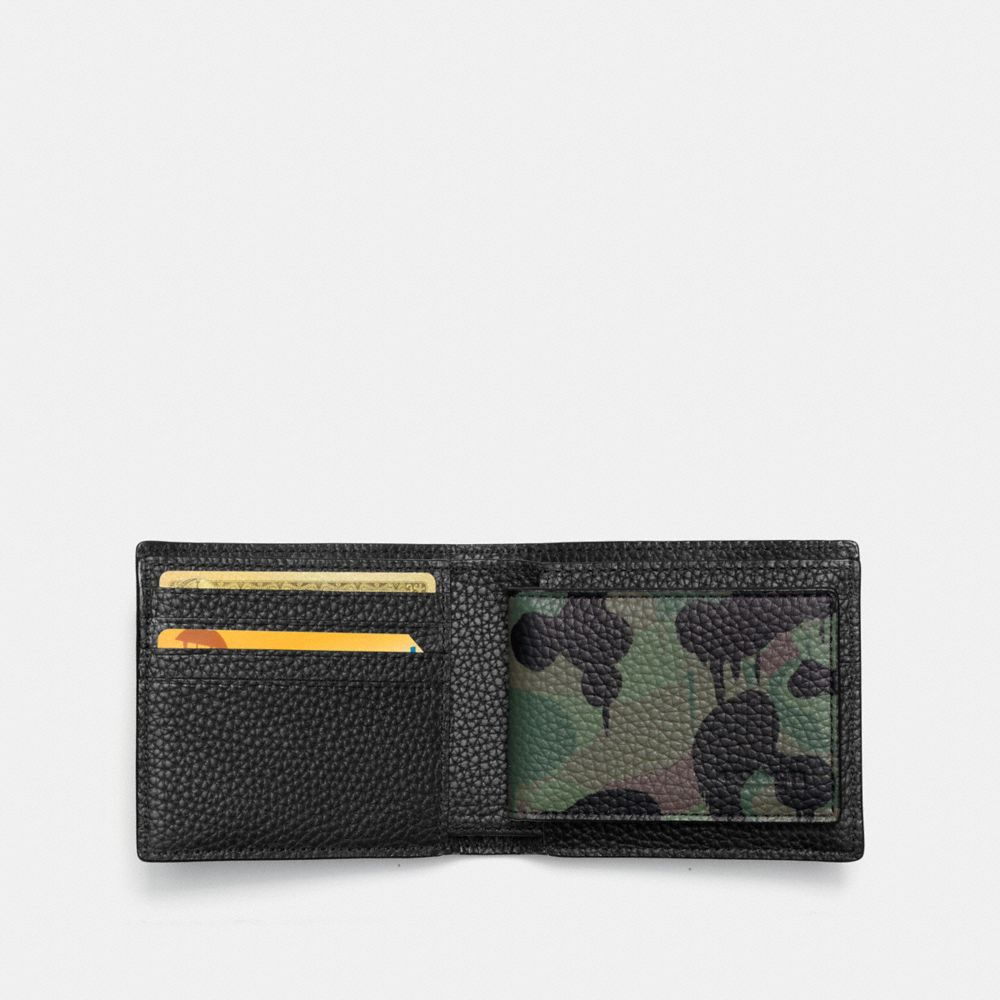 COMPACT ID WALLET IN WILD BEAST CAMO PRINT PEBBLE LEATHER - Alternate View