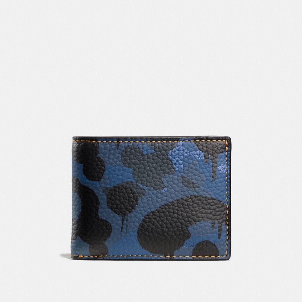 Coach Slim Billfold Wallet With Wild Beast Camo Print