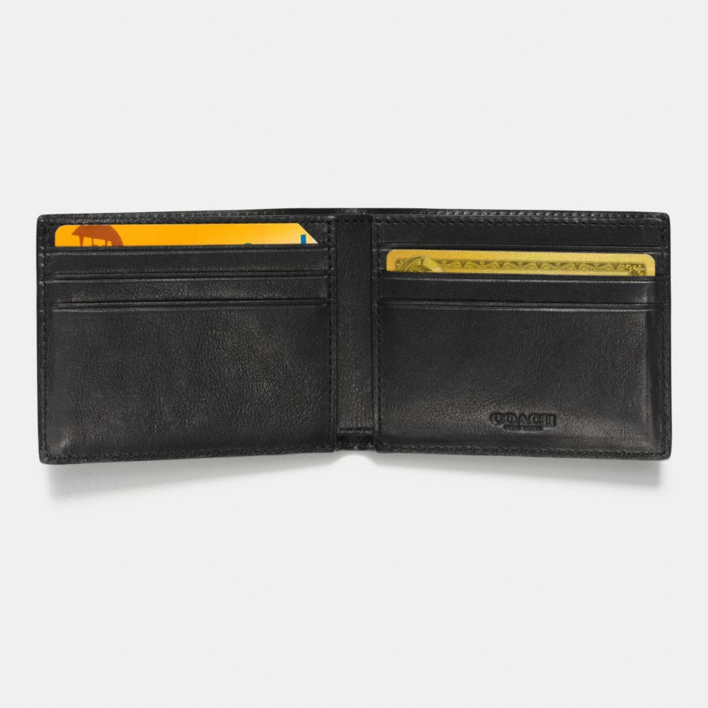 Modern Varsity Stripe Slim Billfold Wallet in Smooth Leather - Alternate View L1