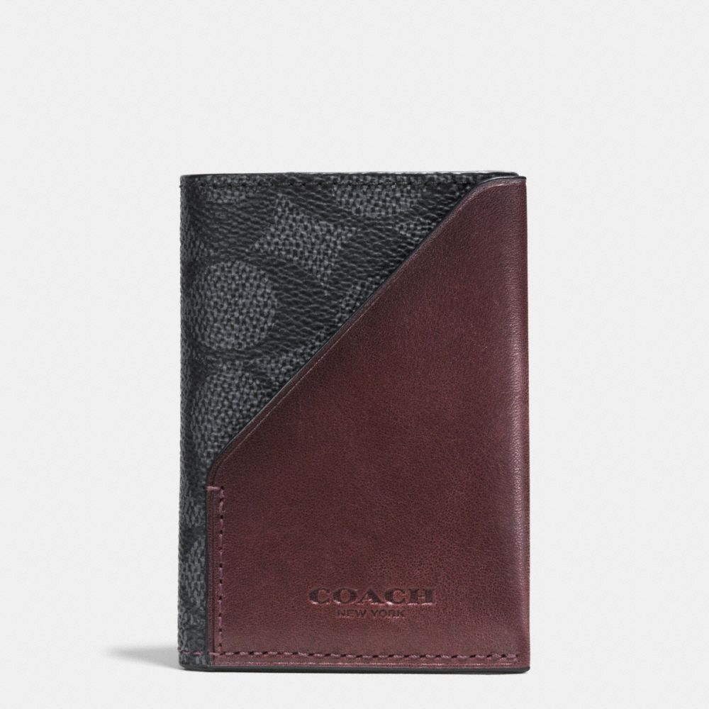SLIM CARD WALLET IN SIGNATURE COATED CANVAS - Alternate View
