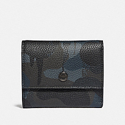 TRIFOLD SNAP WALLET WITH WILD BEAST PRINT - NAVY - COACH 75496