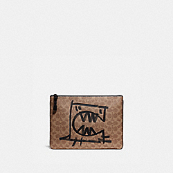 POUCH 30 IN SIGNATURE CANVAS WITH REXY BY GUANG YU - KHAKI - COACH 75506