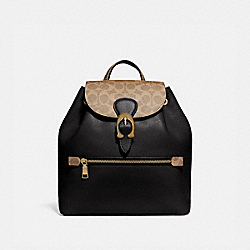 EVIE BACKPACK WITH SIGNATURE CANVAS BLOCKING - TAN BLACK/BRASS - COACH 75564