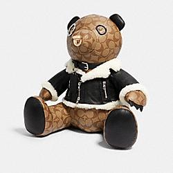 BEAR IN SIGNATURE CANVAS WITH MOTO JACKET - KHAKI/BLACK - COACH 7556