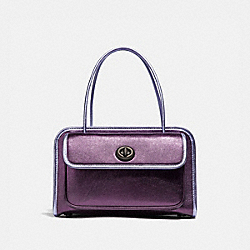 KIKO SAFARI TOTE IN METALLIC - V5/METALLIC AUBERGINE - COACH 75953