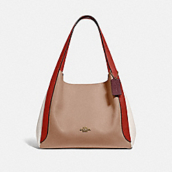 HADLEY HOBO IN COLORBLOCK - GD/TAUPE RED SAND MULTI - COACH 76088