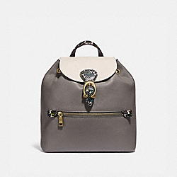 EVIE BACKPACK IN COLORBLOCK WITH SNAKESKIN DETAIL - HEATHER GREY MULTI/BRASS - COACH 76107