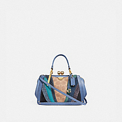 KISSLOCK DREAMER 21 IN SIGNATURE CANVAS WITH WAVE PATCHWORK AND SNAKESKIN DETAIL - TAN/WASHED CHAMBRAY/BRASS - COACH 76115