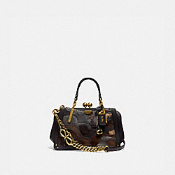 KISSLOCK DREAMER 21 IN SIGNATURE CANVAS WITH STARSCAPE PATCHWORK AND SNAKESKIN DETAIL - TAN BLACK/BRASS - COACH 76117