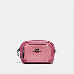 DOUBLE ZIP BELT BAG IN COLORBLOCK - GUNMETAL/TRUE PINK MULTI - COACH 76149