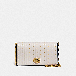 CONVERTIBLE BELT BAG WITH QUILTING AND RIVETS - CHALK/BRASS - COACH 76152