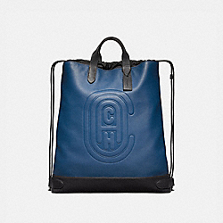 ACADEMY DRAWSTRING BACKPACK WITH COACH PATCH - TRUE BLUE/BLACK COPPER - COACH 76154
