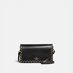 HAYDEN FOLDOVER CROSSBODY CLUTCH WITH SCALLOP RIVETS - BLACK/BRASS - COACH 76200