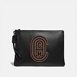 POUCH 30 WITH COACH PATCH - BLACK - COACH 76244
