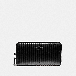 ACCORDION ZIP WALLET WITH QUILTING AND RIVETS - V5/BLACK - COACH 76273