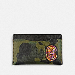 SMALL CARD CASE WITH WILD BEAST PRINT AND KAFFE FASSETT COACH PATCH - SURPLUS - COACH 76286
