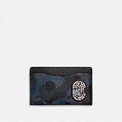 SMALL CARD CASE WITH WILD BEAST PRINT AND KAFFE FASSETT COACH PATCH - BLUE - COACH 76286