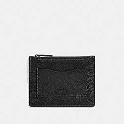 LARGE CARD CASE - BLACK/DARK HONEY - COACH 76300