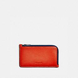 L-ZIP CARD CASE IN COLORBLOCK - RED ORANGE MULTI - COACH 76331