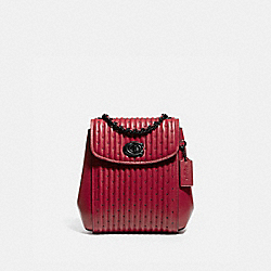 PARKER CONVERTIBLE BACKPACK 16 WITH QUILTING AND RIVETS - V5/RED APPLE - COACH 76362