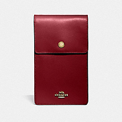 SNAP PHONE CROSSBODY - GOLD/DEEP RED - COACH 76363