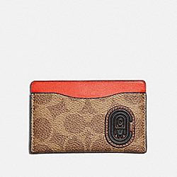 SMALL CARD CASE WITH SIGNATURE CANVAS BLOCKING AND COACH PATCH - TAN SIGNATURE MULTI - COACH 76426