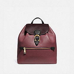 EVIE BACKPACK IN COLORBLOCK LEATHER - VINTAGE MAUVE MULTI/BRASS - COACH 76534