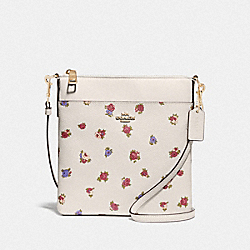 KITT MESSENGER CROSSBODY WITH VINTAGE ROSEBUD PRINT - CHALK MULTI/GOLD - COACH 76605