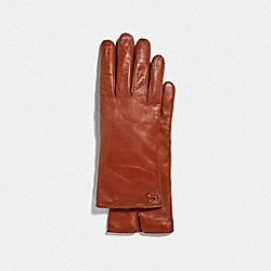 SCULPTED SIGNATURE LEATHER TECH GLOVES - SUNSET - COACH 76609
