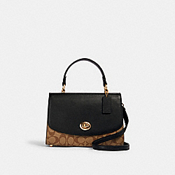 TILLY TOP HANDLE SATCHEL IN SIGNATURE CANVAS - IM/KHAKI/BLACK - COACH 76620