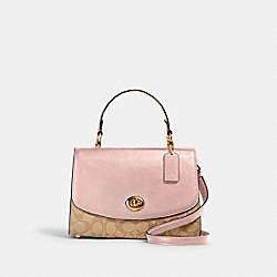 TILLY TOP HANDLE SATCHEL IN SIGNATURE CANVAS - IM/LIGHT KHAKI BLOSSOM - COACH 76620