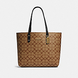 TOWN TOTE IN SIGNATURE CANVAS - IM/KHAKI/BLACK - COACH 76636