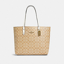 TOWN TOTE IN SIGNATURE CANVAS - IM/LIGHT KHAKI CHALK - COACH 76636