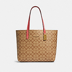 TOWN TOTE IN SIGNATURE CANVAS - IM/KHAKI POPPY - COACH 76636