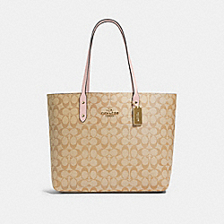 TOWN TOTE IN SIGNATURE CANVAS - IM/LIGHT KHAKI BLOSSOM - COACH 76636