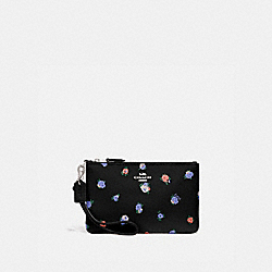 SMALL WRISTLET WITH VINTAGE ROSEBUD PRINT - BLACK MULTI/GUNMETAL - COACH 76978