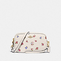 SADIE CROSSBODY CLUTCH WITH VINTAGE ROSEBUD PRINT - CHALK MULTI/GOLD - COACH 76979