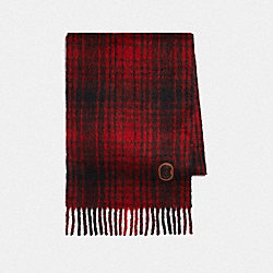 HUNTING PLAID PRINT OVERSIZED MUFFLER - RED - COACH 77833