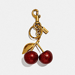 CHERRY BAG CHARM - RED APPLE/BRASS - COACH 77840