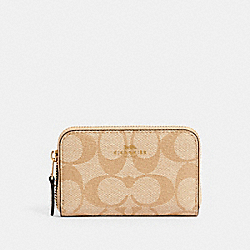 ZIP AROUND COIN CASE IN SIGNATURE CANVAS - IM/LIGHT KHAKI CHALK - COACH 78005