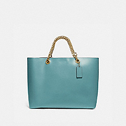SIGNATURE CHAIN CENTRAL TOTE - B4/MARINE - COACH 78218