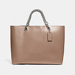 SIGNATURE CHAIN CENTRAL TOTE - LH/TAUPE - COACH 78218