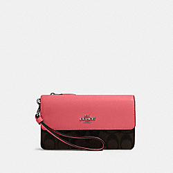 FOLDOVER WRISTLET IN SIGNATURE CANVAS - QB/BROWN PINK LEMONADE - COACH 78229