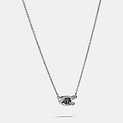 SIGNATURE STONE NECKLACE - BLACK/SILVER - COACH 78360