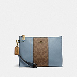 CHARLIE POUCH WITH SIGNATURE CANVAS BLOCKING - BRASS/TAN MIST - COACH 78372